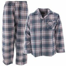 NEW Men's Flannel Pajamas Gray Plaid Two-Piece Set Long Sleeved with Pants