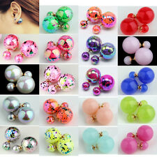 Lady's Double Face Two Way Wear Neon Print Fluorescent Pearl Stud Pin Ear Earing