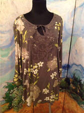 SONOMA GRAY OR BROWN MULTI FLORAL CROCHET FRONT 3/4 SLEEVE RAYON TUNIC TOP 2X