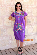 Mexican Dress Hand Embroidered Cotton Dress Any Color/Size