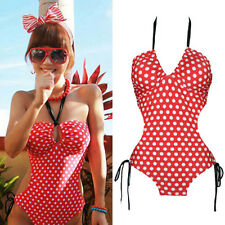 Vintage Style Retro 50s Pin Up Rockabilly Red Polka Dot Monokini Swimsuit Bikini