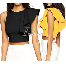 Women Lady One-shoulder Ruffle Back Zip Cocktail Party Evening Crop Top Shirt IW