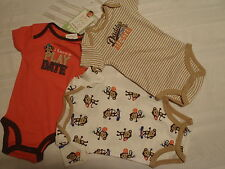 CARTERS Boys 3 or 6 Month Choice Short Sleeve 3-pack Monkey Bodysuit Set NWT
