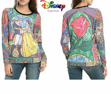 Disney Beauty and The Beast Stained Glass Belle Rose Sweater Size S-XL UK8-16