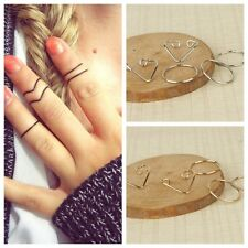 5Pcs/Set Popular Women Black Gold Silver Above Knuckle Ring Band Midi Rings ZY