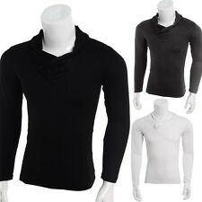 New Men's Slim Fit Cotton V-Neck Long Sleeve Solid Casual T-Shirt Tops
