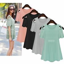 Casual XL-5XL New Fat Women Slim Short sleeve Shoulder Loose Tops Mini Dress
