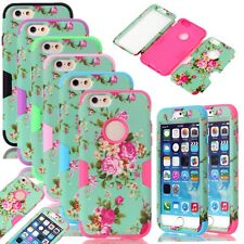 Deluxe Peony Flower Pattern PC Soft Silicone Combo Matte Case For iPhone 6 /Plus
