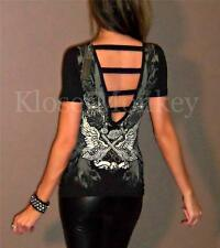 SEXY BLACK OPEN BACK V-NECK PISTOL GUN BIKER ANGEL WING RHINESTONE TEE TOP