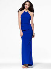 CACHE NWT Sexy Cobalt Blue Gold Chain Halter Gown Formal PROM Dress     14 XL
