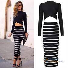Womens Cocktail Boutique 2-Piece Set Crop Tops Bodycon Striped Dress Maxi Skirt