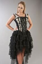 Womens Cream/Black Floral Flock Prom Party Victorian Gothic Evening Corset Dress