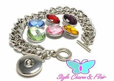1 Snap it chunk toggle chain silver bracelet 6 different color snaps bead button
