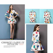NEW Women Korean Fashion Printed Casual Mini Dress Party Cocktail Clothing Top