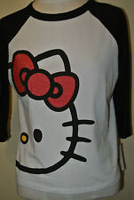 HELLO KITTY  Women's JR  Shirt T-shirt Tee Top XS  S M L XL White Raglan Black