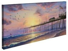 """Thomas Kinkade Wrap - Footprints In The Sand – 16"""" x 31"""" Wrapped Canvas"""