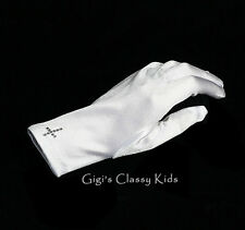 New Girls White Satin Gloves w/Cross Wrist Length First Communion Wedding Flower