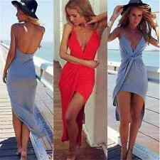 Sexy Party  Women V Neck Twist Summer Dress Backless Asymmetrical Mini Dress