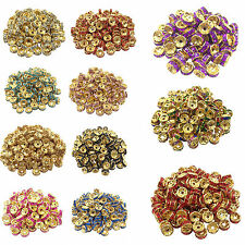 50/100Pcs Golden Plated Crystal Disc Spacer Loose Bead Charm Jewelry DIY 8mm