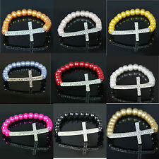 New Fashion Smooth Glass Pearl Crystal Cross Elastic Shiny Bracelet 20 Colors