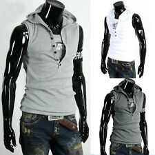 Mens Casual Slim Fit Sleeveless Hoodie T-shirt Vest Tank Top Summer Tee Shirt