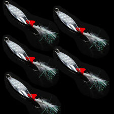 Lot Metal Fishing Spoon Lures Feather Treble Hooks Blade Spinner CrankBait Baits