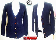 LADIES NAVY BLUE SIZE 8 PETITE CABLE KNIT CARDIGAN LONG SLEEVES VTG JUMPER TOP