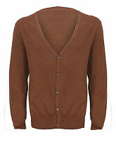 NEUF HOMME H&M BRUN CARDIGAN TRICOT PULL COTON TAILLES XS-XL RRP£29.99