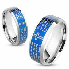 Stainless Steel Laser Etched Blue Lord's Prayer Wedding Band Ring Size 5-13