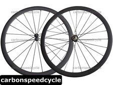 Straight pull Carbon Road Bicycle Wheel 38mm Clincher/Tubular Powerway R36 Hubs