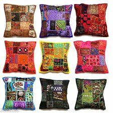 """Cushion Cover 16x16"""" 40cm Indian Embroidery Sequin Patchwork Floral Stripes"""