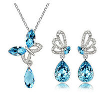 Women 18k Gold Plated Austrian Crystal  In 4 Color Drop Butterfly Jewelry Sets