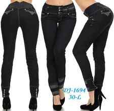 Stretch Colombian Push Up Levanta Pompis/Cola  Black Skinny Jeans  Silver Diva
