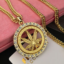 New Men's Fashion Weed Hip Hop Chain Iced Out Marijuana Pendant Necklace Gold