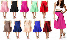 Womens Ladies NEW Office Flared Skater High Skirt Long Stretch Plain Knee Skirt