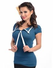 Steady Clothing LUCKY SAILOR top shirt pinup nautical retro rockabilly teal 7132