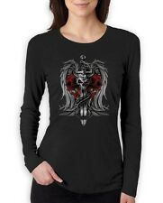 Biker Death Skull Sword Dragon Tattoo gothic clothing  Women Long Sleeve T-Shirt