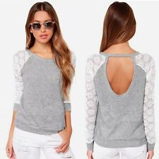 Fashion Women Backless Long Sleeve Tops Embroidery Lace Crochet Shirt Top Blouse