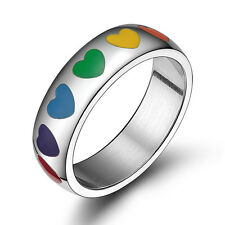 Stainless Steel Heart Rainbow Ring Gay and Lesbian LGBT Pride Wedding Band