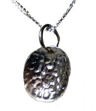 "925 STERLING SILVER HAMMERED OVAL PENDANT NECKLACE 16"" 18"" 20"" (2083)"