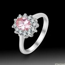 Wedding White Topaz & Pink Kunzite Quartz S80 Silver Ring size 7 8 9