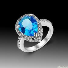 Charm Woman Jewelry Gift Blue Topaz S80 Silver Gemstone Ring size 7 8 9