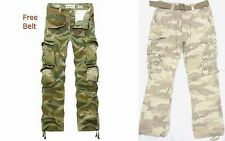 Combat Men's Military Cargo Pants Camouflage ARMY Camo trousers 100% Cotton