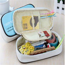 Student's Stationery Canvas Pen Bag Pencil Case Cosmetic Bags Travel Makeup Bags