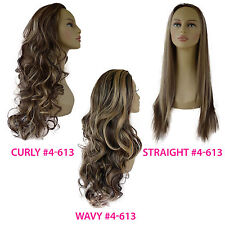 Ladies 3/4 WIG Half Fall Clip In Hair Piece Dark Brown/Blonde Mix #4/613