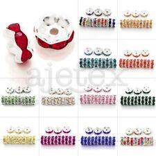 20pcs Crystal DIY Wavy Silver Plated Center Drilled Spacer Jewelry Making Beads
