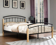 4FT6 Double 3FT Single 5FT King Size Bed Metal Wooden Frame with Foam Mattress