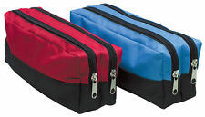 Double Zip Pencil Case Tough Fabric Large Capacity Cosmetic Makeup Storage Pouch