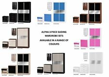 Alpha Gloss 3 Piece Bedroom Furniture Set - Bedside, Drawers, Sliding Wardrobe