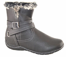 Ladies Womens Low Wedge Fur Lined Inside Zip Pixie Ankle Boots Shoes Size 4-9